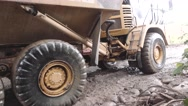 Stock Video Footage of Heavy machinery after landslide