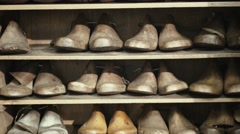 Shoe forms in wooden Stock Footage