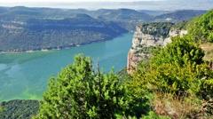 Autumn landscape with lake. Sau reservoir. Catalonia,  Spain Stock Footage