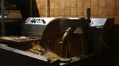 Chocolate making equipment with flowing cocoa - stock footage