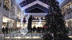 Christmas and New Year decorated shopping mall. Slow motion video - stock footage