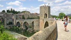 View of medieval bridge in Besalu. Catalonia Stock Footage