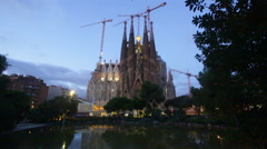 Sagrada Familia in evening time Stock Footage