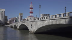 Bandai Bridge in Niigata, Japan Stock Footage