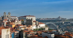 Luis I bridge and house roofs in Porto, Portugal Stock Footage