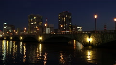 Bandai Bridge at Night in Niigata, Japan Stock Footage