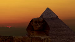 Timelapse. Sunrise over the pyramid of Cheops and Sphinx. Giza Egypt. Stock Footage