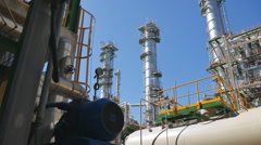 Oil Refinery tower with blue sk Stock Footage