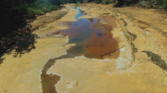 Desert Wash With Small Stream Wide- Sedona Arizona Stock Footage