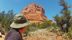 Head And Shoulders Of Hiker Admiring Court House Butte- Sedona AZ Stock Footage