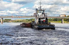 Navigation on the river Volkhov in summer day - stock photo