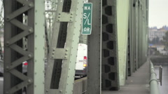 Oregon and Washington State line on the Interstate Bridge - stock footage