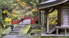 Bridge and Shrine at Hagurosan in Yamagata, Japan Stock Footage
