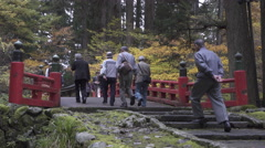 Bridge at Hagurosan in Yamagata, Japan Stock Footage