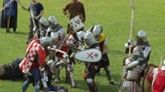 "Editorial- Battle knights during medieval festival historic ""Russian fortres"" Stock Footage"
