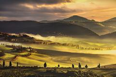 Tuscany foggy morning, farmland and cypress trees. Italy. - stock photo