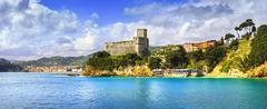 Stock Photo of Lerici village panorama, fortress and coast. Cinque terre, Ligury Italy