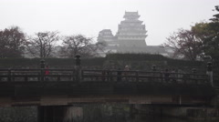 Bridge over Moat of Himeji Castle in Japan Stock Footage
