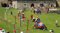 Editorial-Jousting tournament on horseback during the historic medieval festival Stock Footage