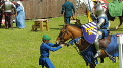 Editorial- Equestrian joust during the historic medieval festival - stock footage