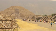 Mexico City: Teotihuacan, Ancient MesoAmerican site. Pyramid of the Moon. Stock Footage
