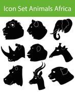Icon Set Animals Africa - stock illustration