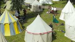 Editorial-Medieval knight's camp during the historic medieval festival - stock footage