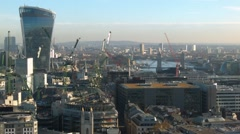 London city skyline 20 Fenchurch Street with cranes in action Stock Footage