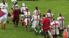 Editorial- Knights prepare for battle during the historic medieval festival Stock Footage
