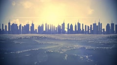 Cityscape skyline ocean rising sea level silhouette skyscraper future climate 4k Stock Footage