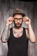 Attractive man with beard and eyewear Stock Photos