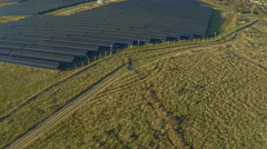 AERIAL industrial view Photovoltaic solar panels producing renewable energy Stock Footage