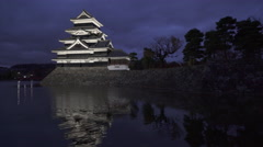 Matsumoto Castle at Night in Nagano Prefecture, Japan Stock Footage