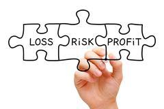 Risk Loss Profit Puzzle Concept Stock Photos