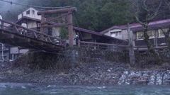 Kappa Bridge in Kamikochi, Japan Stock Footage