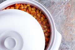 Lima bean casserole cooling off in the dish - stock photo