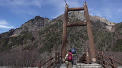 Myojin Bridge at Kamikochi, Japan Stock Footage