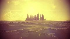 Cityscape skyline ocean rising sea level silhouette skyscraper future island 4k Stock Footage