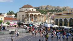 ATHENS - GREECE, JUNE 2015: Monastiraki Square view Stock Footage
