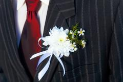close-up black jacket groom on their wedding day with a red tie and lapel - stock photo