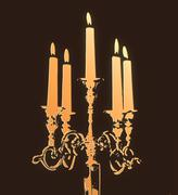 Retro candle holder silhouette, ornamental vintage style decoration on colorful Stock Illustration