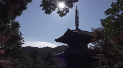 Pagoda at Ichijoji Buddhist Temple in Japan Stock Footage