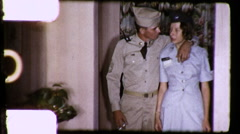 Young Lovers Military Couple In Love Soldiers 1960s Vintage Film Home Movie 9161 Stock Footage