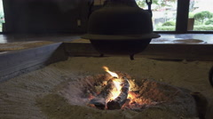 Fire in Traditional Japanese Indoor Hearth Stock Footage