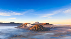 Stock Video Footage of 4K Timelapse of Bromo volcano at sunrise, East Java, Indonesia