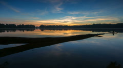 Timelapse of morning lake with haze. Stock Footage