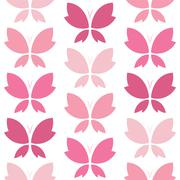 Vector seamless pattern with pink butterfly on white background. wallpaper - stock illustration