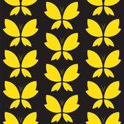Stock Illustration of Vector seamless pattern with yallow butterfly on black background. wallpaper