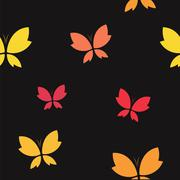 Vector seamless pattern with butterfly on black background. wallpaper - stock illustration