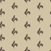 Cock vector art background design for fabric and decor. Seamless pattern - stock illustration